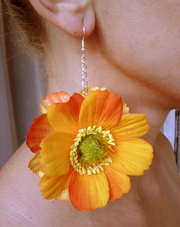 Серьги с тропическими цветами