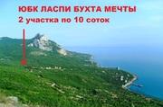 Супер видовой участок у моря на ЮБК,  бухта Ласпи! Панорамный вид на открытое море и горы